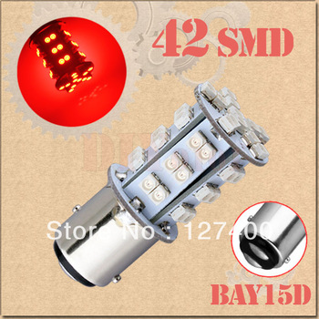 2pcs BAY15D 1157 P21/5W 42 SMD Red Fog Tail Turn Signal 42 LED Car Light Bulb Lamp