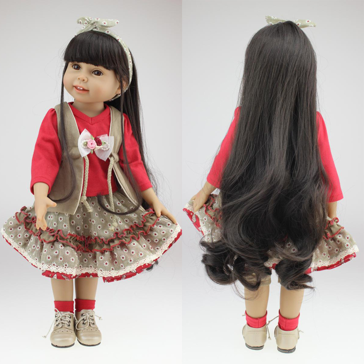 "Free shipping gift 18"" 45cm America Girl doll with black hair silicone lifelike babies doll baby toys girl birthday gift(China (Mainland))"
