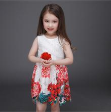 Summer Baby Girl Dress 2016 For 3-12 Years Sleeveless Floral Lace Print Princess Birthday Party Kids Formal Dress Brand