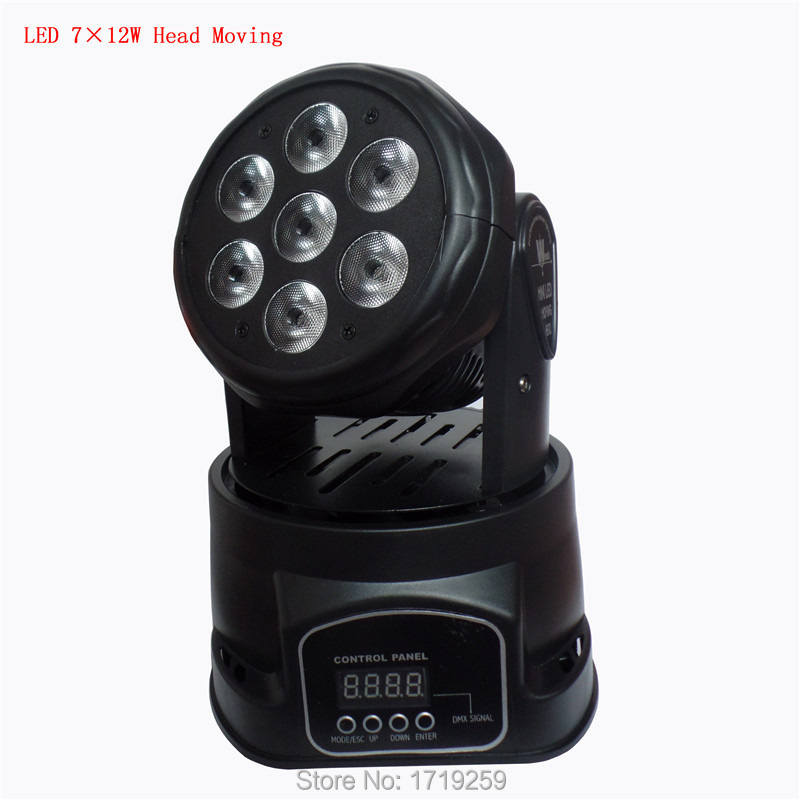Фотография 4 pieces Fast Shipping  LED  Moving Head Mini wash 7x12w RGBW Quad with advanced 14 channels Free Shpping