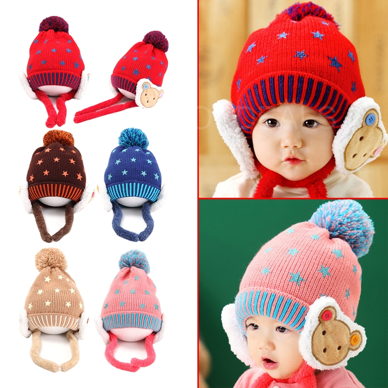 Popular Fashion Baby Kids Winter Autumn Warm Hat Earflap Cap wit Stars Pattern for good selling(China (Mainland))