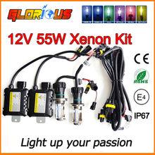 12V 55W H4 Bi xenon lamp kit 9004 9007 H13 H4 hid hi lo BI-XENON light bulb 55W 6000K 8000K 4300K 5000K 10000K H4 Bi xenon kit(China (Mainland))