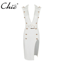 Buy CHIC VITA 2017 New Arrival Fashion Sexy Dress Summer Button Deep V Neck Mini Sleeveless Women Lady Dress SunDress for $28.12 in AliExpress store
