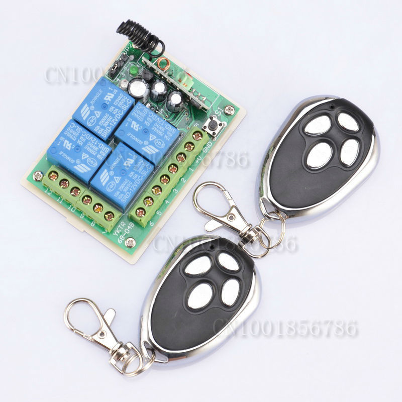 DC12V 4CH Digital Radio Remote Control Switches Receiver +Metal Transmitter Learning Code(China (Mainland))