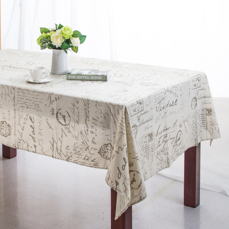 Linen table cloth european style words print high quality - Manteles para mesa ...