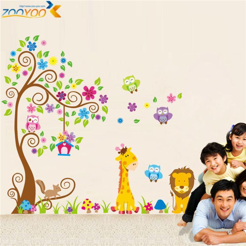 giraffe lion owl colorful tree wall stickers for kids room zooyoo1218 animal wall decal cartoon wall art bedroom home decoration(China (Mainland))