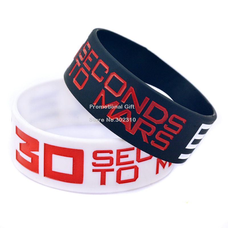 50PCS/Lot 30 Seconds To Mars Bulk Cheap Silicon Wristband(China (Mainland))