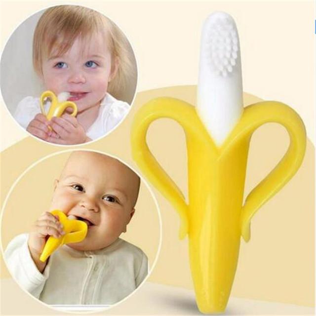 2016 детей обучение зубная щетка ребенка прорезыватель зубное кольцо банан силиконовые ...