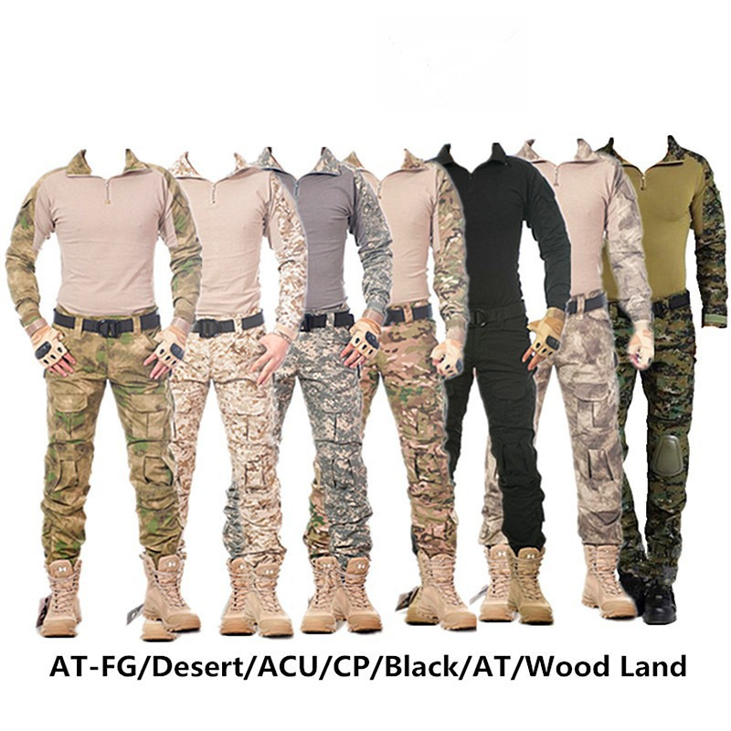 Camouflage tactical military clothing paintball army cargo pants combat trousers tactical pants with knee pads