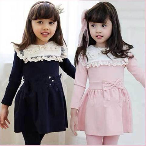 Winter Girls Long Sleeve Bowknot Clothing Set Dress + Pant Children FreeShipping - Seven Dwarfs store