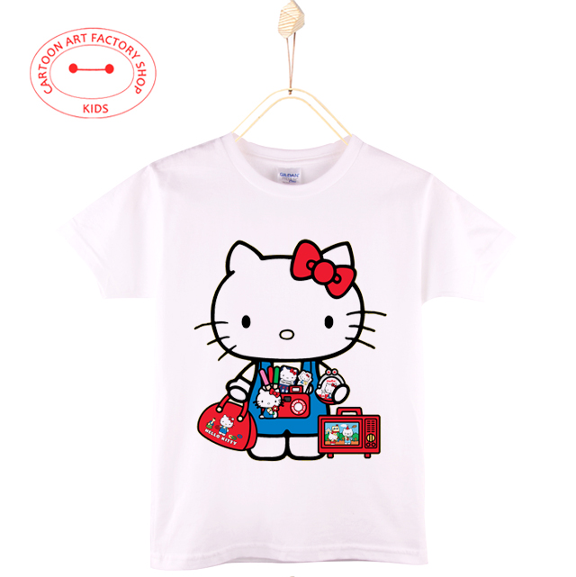 2016 New Summer Children Clothes Kids T-Shirts 100% Cotton Cartoon Anime Cat 4T-12T Girls White T Shirt Baby Tops Free Shipping(China (Mainland))