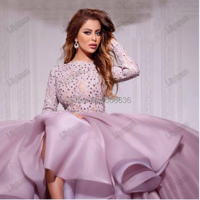 Organza 2015 New Style Saudi Arabia Singer Myriam Fares Ball Gown Beaded Open Back Ruffles Puffy Long Sleeves Celebrity Dress - Lilytown's Wedding Store store