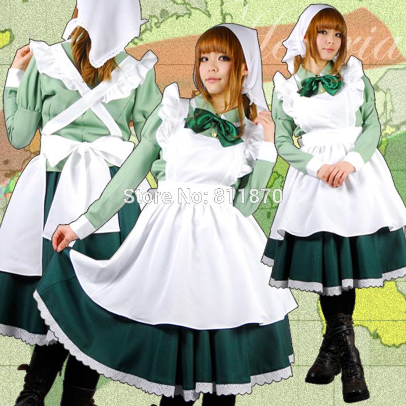APH Axis Powers Hetalia Cosplay Hungary Women's Dress Lolita Skirt Evening Maid Costume Apron Rode
