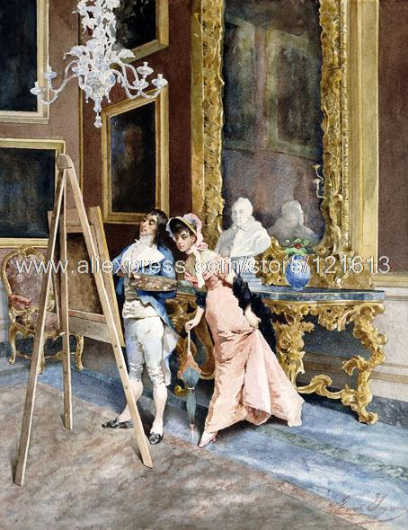 Enrico Ingani The Finishing Touches Artist Admirer Easel Bonnet hand painted Impression wall art large canvas painting I(China (Mainland))