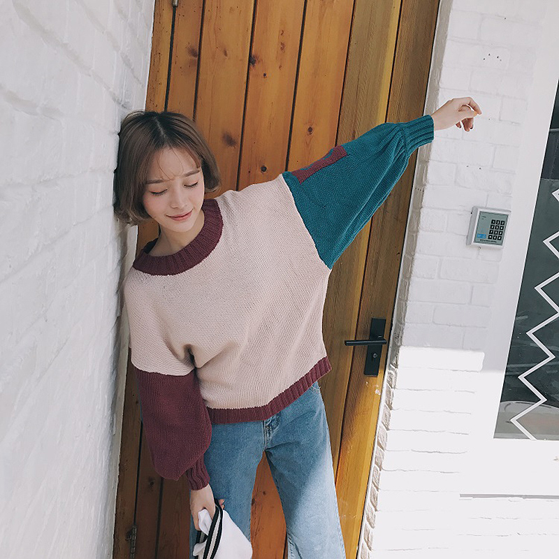 Autumn Winter Women Pullovers Sweater Lantern Sleeve Solid Original Casual Kawaii Lolita Patchwork Oversized Sweaters(