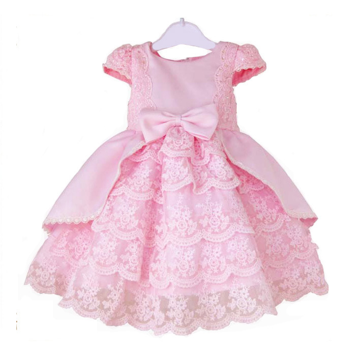 2015 Summer Baby Girls Vintage Clothes Kids Princess Big Bow Childrens Elegant Christmas Party Flower Girls Pink Lace Dresses(China (Mainland))