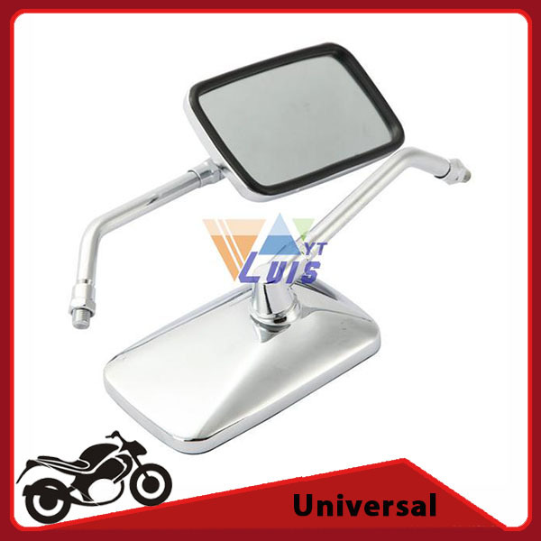 Chrome Motorcycle Mirror Rectangle Moto Racing Bike Chopper Cafe Rearview Mirrors Handlebar Side Mirror 10mm Thread Universal(China (Mainland))
