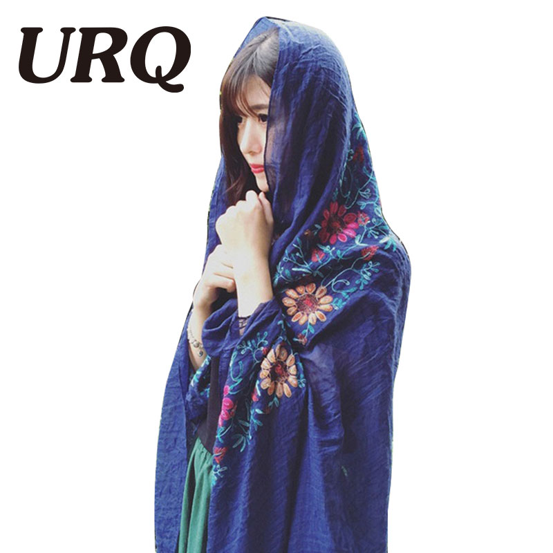 90*180 Japanese Ethnic Style Embroidered Scarves and Shawls for Women Muslim hijab Fashion Design Bandana for Ladies V9A18550(China (Mainland))