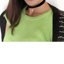 Nuevos accesorios de joyería de moda punky de la vendimia oro plateado cruz cinta estrella de la luna de regalo collar de gargantilla pareja girl N089(China (Mainland))