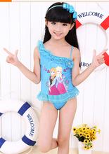 2015 lovely cartoon printing lace ice girls swim dress red blue color baby swim dress beach