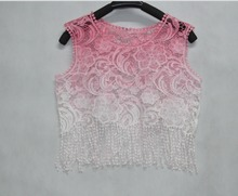 J&G 2015 fashion short colorful lace crop top vintage casual sexy cute shirts vestidos summer women lady blouse tank plus XL(China (Mainland))