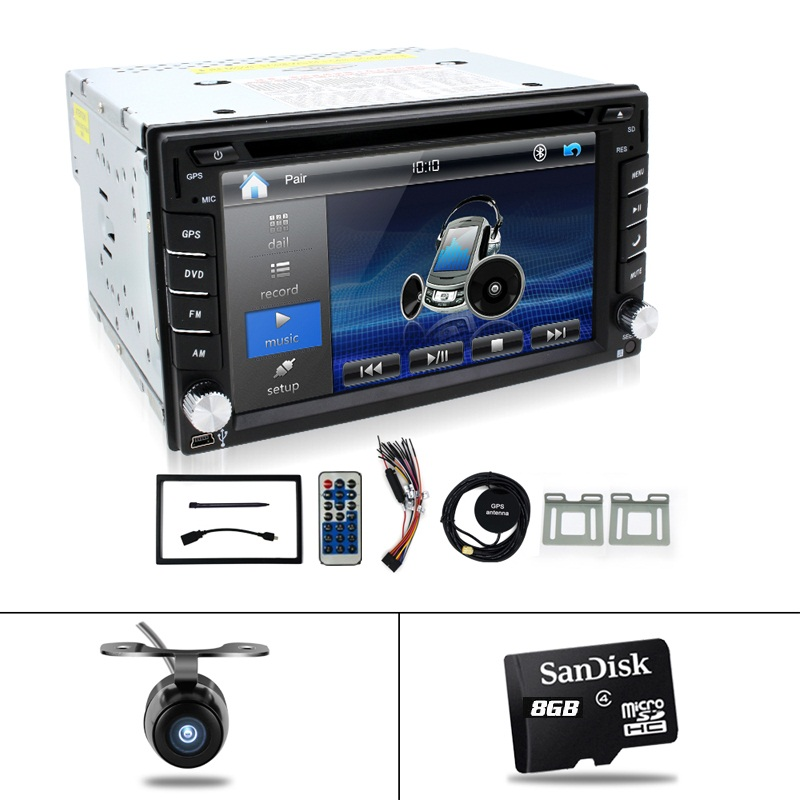 "Reverse Camera+GPS map 6.2"" 2 Din Car GPS Navigation Stereo DVD Player Bluetooth iPod Radio FM AM Receiver MP3 Indash Head Unit(China (Mainland))"