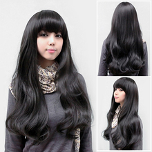 New Style Lady Sexy Fashion Fluffy Full Curly Wave Wig Long Black Hair Wig HB88(China (Mainland))