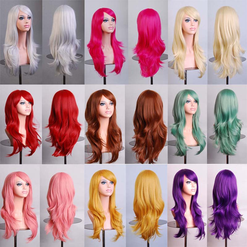 Hot 70cm long curly black/redpink/brown 12colors Anime Cosplay wig,High quality womens party kanekalon fibre synthetic hair wigs(China (Mainland))