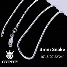 """Buy SALE N192 16""""18""""20""""22""""24"""" 3MM silver Snake Chain Snake Chain accessory finding jewellery Engraved Woman Man Sale for $1.72 in AliExpress store"""