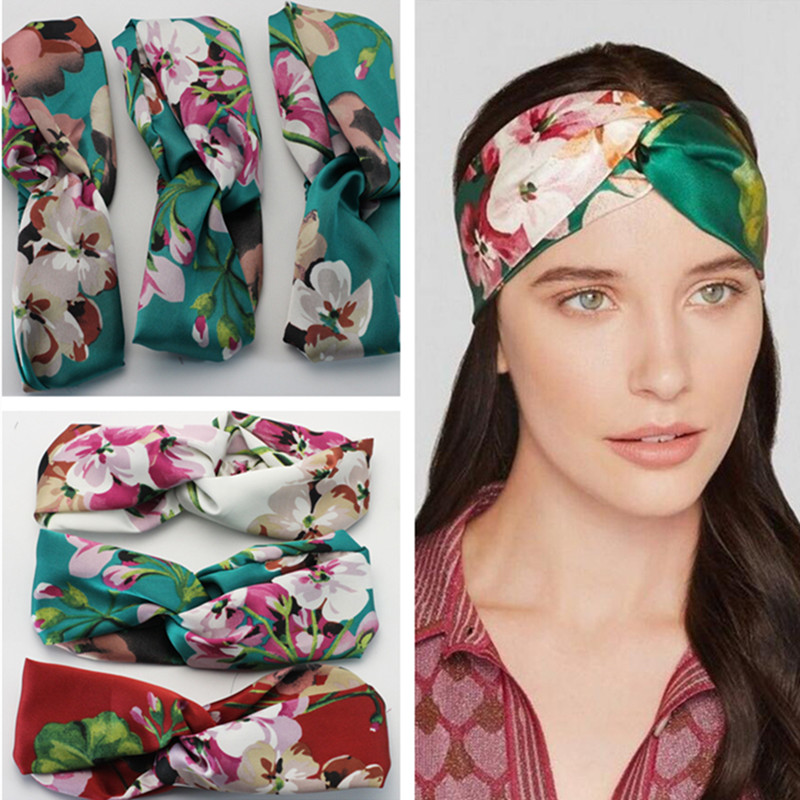 1 Pc Women Girl Lady Flower Floral Print Hairbands Turban Cross Twist Knot Elastic Headband Wrap Headwear Hair Accessories(China (Mainland))