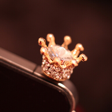 mobile Phone Accessories crystal Crown Dust Plug for iphone Samsung(China (Mainland))