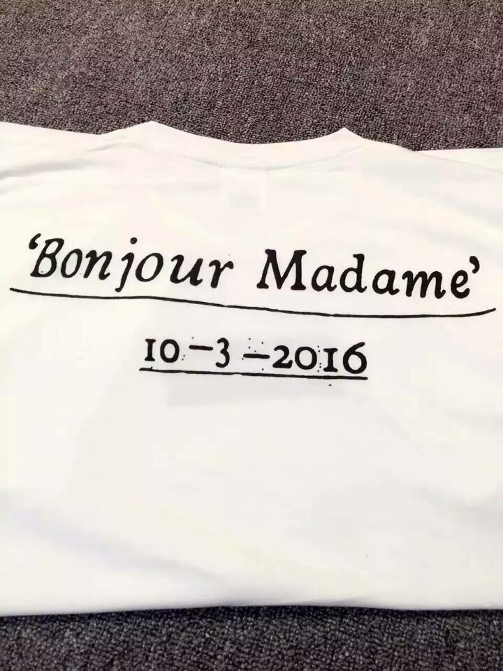 Paris Store Opening Box Bonjour Madame T Shirt Supreme Paris Logo T Shirt Men Women 1: 1 High Quality 100% Cotton Yeezy(China (Mainland))