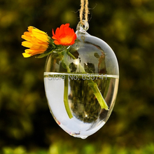 10pcs/lot Wholesale Hanging Drop Round Egg Crystal Glass Flower Vase Hydroponic Container Exquisite Free Shipping(China (Mainland))