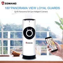 ZGWANG Panoramic Fish Eye Lens IP Camera Wifi Wireless Night Veresion APP Remote Control 180 Degree Wi-Fi P2P IP Webcam