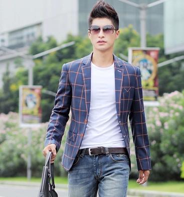 man spring 2014 plaid suit slim fashion autumn outerwear mens blazers cheap plus size mens fashion blazer men suit blazer -3xl