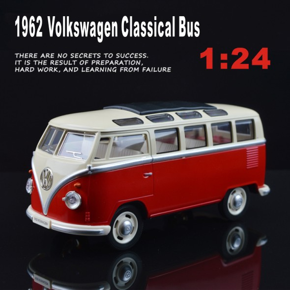 1:24 VW T1 Bus Type 2 1950 Classic cars Van car model metal pull back sound light kids toy Volkswagen free shipping gift boy(China (Mainland))