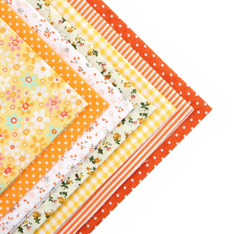 Cotton Fabric No Repeat Design Orange Series Patchwork Fabric Fat Quarter Bundle Sewing For Fabric 7pieces/lot 50x50cm A1-7-4(Hong Kong)