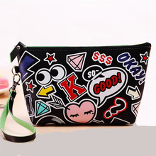 Korean version of the new women bag, modern girl Pu creative picture makeup bag large waterproof bag hand bag(China (Mainland))