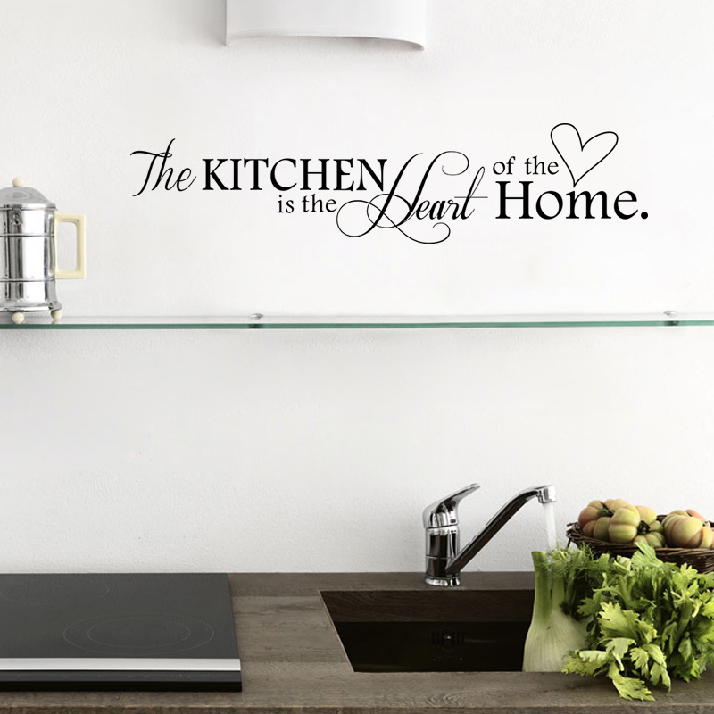 New Kitchen is Heart of the Home Letter Pattern Wall Sticker PVC Removable Home Decor DIY wall art MURAL(China (Mainland))