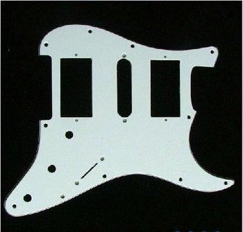 Guitar Pickguard 11 Hole HSH White