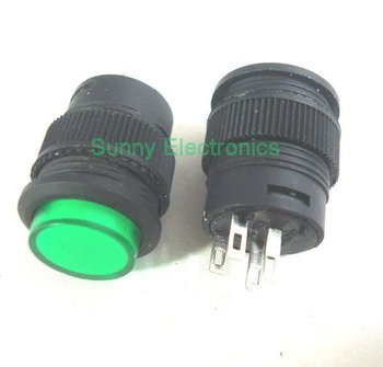 16MM self-lock push button switch ON-OFF with LED lighting DC 3V Green 50PCS