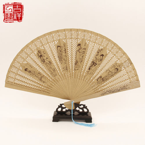 2 pieces Chinese Handmade Classical Sandal Wood Fragrant Hollow Folding Bamboo Fan Beauty patten(China (Mainland))