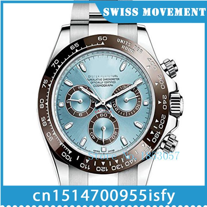 Luxury chronography eta 7750 automatic Cosmograph Daytona Ice Blue Dial Platinum Mens Watch 116506IBLSO(China (Mainland))