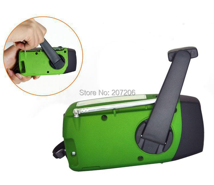 Hand Crank Up Battery radio receiver solar charger with led lamp