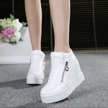 Hot Sales new spring Autumn silver White Hidden Wedge Heels Casual shoes Women's Elevator High-heels shoes for Women(China (Mainland))