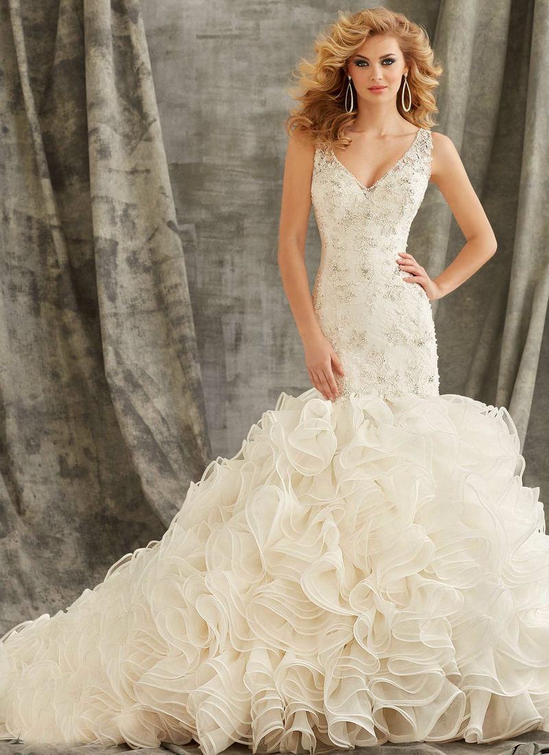 Ruffle Wedding Dress Women Ivory Organza Lace Wedding Mermaid Dress Open Back V Neck Bridal