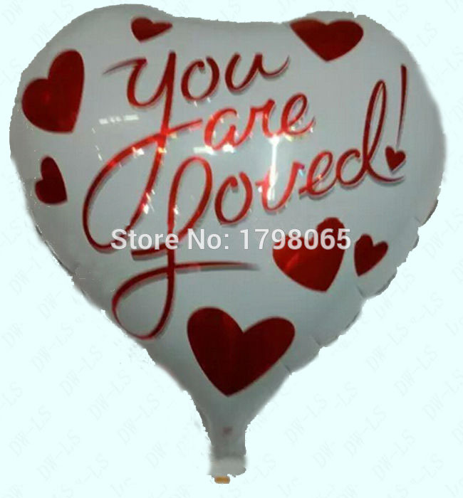 wholesale 50pcs/lot heart balloons foil balloon mylar baloon wedding party Valentine's Day YOU ARE LOVED air baloon(China (Mainland))