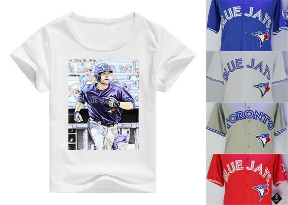 High Quality Jerseys Style Shirt Toronto Blue Jays Logo Shirt Marcus Stroman Jose Bautista Josh Donaldson Kevin Pillar Shirts(China (Mainland))