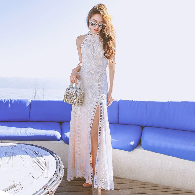 BUY LIFE 2017 new Bohemia backless lace diamond pattern maxi long holiday halter white split beach summer dress thin Sexy women(China (Mainland))