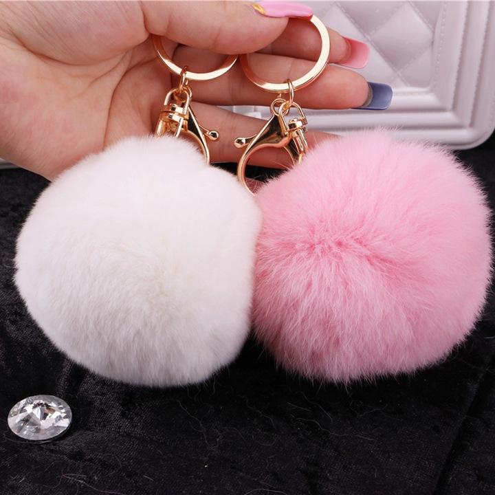 New Year Gifts Soft 8cm Fur Key Chain Rex Rabbit Fur Ball Keychain Gold Keyring KeyChain 8 colors Fashion Fur Bag Accessories(China (Mainland))
